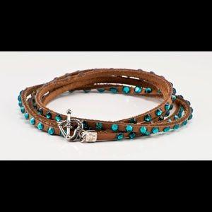 Swarovski crystal wrap bracelet in tan